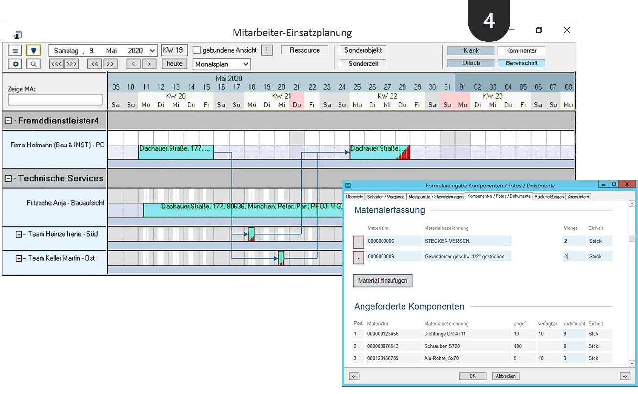 Screenshot Mitarbeiter-Einsatzplanung