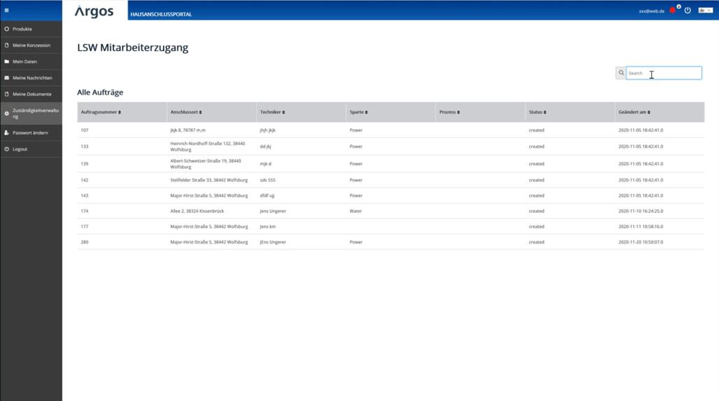 Screenshot Argos Hausanschlussportal